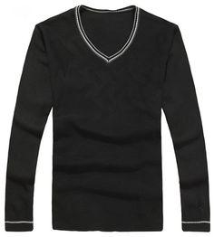 Men Spring V-Neck Long Sleeve All Matching Slim Black Knitting Sweater One Size@WH0107b