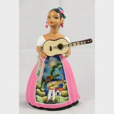 Lupita Najaco Doll/Figurine w Guitar/Hat Ceramic Mexican Folk Art Rose Mexican Crafts, Mexican Folk Art, Mexican American, Native American Art, Rose Dress, Pink Dress, My Christmas Wish List, Clay Figurine, Ceramic Pottery