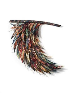 textile art feathers/wing Love it!