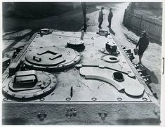 Overhead photo showing details on a Jagdtiger roof area