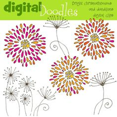 Bright Crysanthimums and dandilions digital clip art