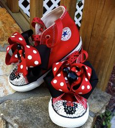 Minnie Mouse Swarovski Converse Infant/Toddler Size. $85.00, via Etsy... I feel a DIY coming on