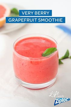 Freeze blueberries and strawberries ahead of time in a Ziploc® freezer bag. When you're craving something delightful, just blend with grapefruit juice and top with a sprig of mint for the freshest smoothie around. Grapefruit Smoothie, Smoothie Fruit, Smoothie Blender, Smoothie Drinks, Smoothie Recipes, Freezing Strawberries, Frozen Blueberries, Body Cleanse Drink, Smoothies With Almond Milk