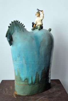 Ceramic horse and rider