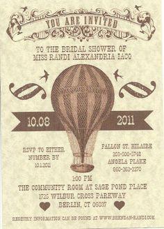 Hot Air Balloon Bridal Shower :  wedding bridal shower hot air balloon invitation invitations vintage Bridalshowerinvitehotairballoon
