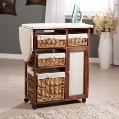 Amazon.com: Showtime Deluxe Wood Wicker Ironing Board Center with Baskets, Brown Floral, Wood, 53.94L in.: Health & Personal Care