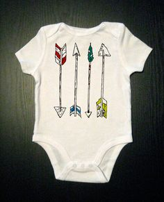 Arrows - Hand Drawn Illustration - Baby One Piece Bodysuit - Funny Onesie - Feathers, Archery, Native American Indian, Hunter, Aztec. $15.00, via Etsy.