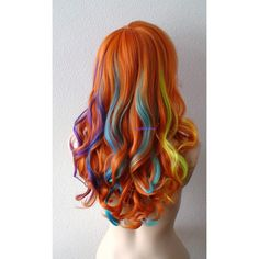 Rainbow Wig Bold Pastel Rainbow Color Wig Long Wavy Hairstyle Wig Heat... ($400) ❤ liked on Polyvore featuring beauty products, haircare, hair styling tools and curly hair care