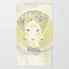 Rug, #donnedispirito collezione Le Pensierose, acquarello, stampa di un acquarello originale. Titolo: Pensieri Zen