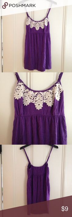 Purple Delia's Tank Top Royal purple tank top with off-white flowered crotchet design on the top from Delia's. Size small. Very soft and comfortable. Tops Tank Tops
