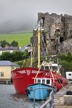 medieval ruins of King John's Castle, Carlingford Harbor, County Louth, Ireland…