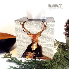 vintage stag tissue box cover/ deer kleenex by HandmadeStylishHome