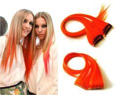 blond orange ombre with orange clip in extensions Orange Ombre, Clips, Hair Extensions, Weave Hair Extensions, Extensions Hair, Extensions