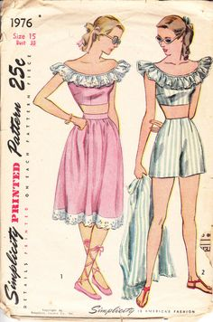 1940s playsuit inspiration with a ruffled neckline... maybe add a wide belt to wear with the skirt for indoors?