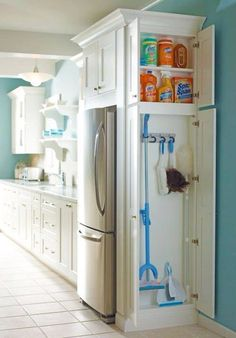 Great kitchen storage cabinet idea.