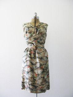 Vintage 1960's Marbled Silk Feather Dress by PurpleDeerVintage