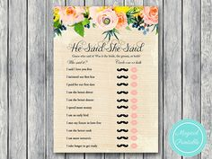 He Said She Said Bridal Shower Game Who Said by MagicalPrintable