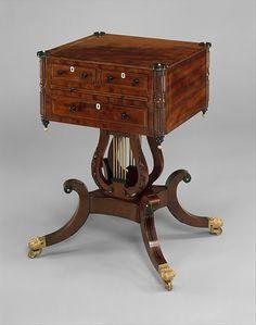 (Regency) Work table.  Maker: Possibly Thomas Whitman (active ca. 1809–27). Date: 1810–15. Geography: New England, Boston, Massachusetts, United States. Culture: American. Medium: Mahogany, tulip poplar, ebony, ivory, brass. Dimensions: 28 5/8 x 22 1/4 x 17 7/8 in. (72.7 x 56.5 x 45.4 cm).