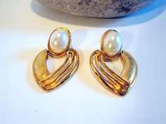 1960s Gold Pearl Door Knockers Earrings by AntiqueAlchemists, $8.00