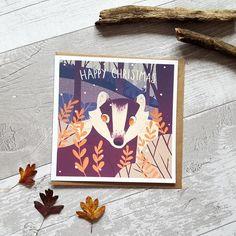 Cute badger christmas card animals in winter fox xmas card | Etsy Woodland Critters, Badger, Christmas Cards, Fox, Hufflepuff Pride, Winter, Happy, Cute, Animals