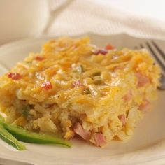 Hash Brown Casserole. I make mine with pork sausage instead of ham. Great do ahead for holiday breakfasts.