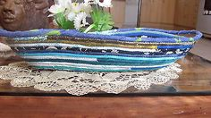 HANDMADE COILED COTTON FABRICS BASKET ROPE QUILTED GREENS BLUES SERVING PLATE