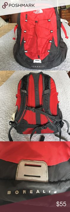 "The North Face Borealis daypack The Borealis is a great daypack from The North Face and this used pack is in excellent condition!  Has 2 full-size interior pockets, the rear of which contains a padded pocket for 13""laptop, and the front one has many individual pockets to hold various gear. This is a larger daypack--about 18"" high. Only flaws are broken male component to chest strap and snagging on bottom of left exterior side pocket (see last 2 photos). The North Face Bags Backpacks"