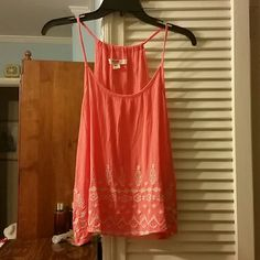 Super cute summer tank top Coral and white tank top. Very light weight. Super thin straps. 100% rayon.24 inches long. Mossimo Supply Co Tops Tank Tops
