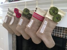 Burlap Christmas Stockings by Sewing Sunflowers {personalized & handmade}