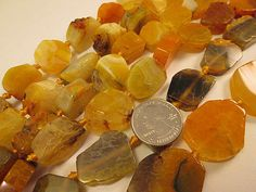 Smaller Size Agate Beads Yellow Agate Slab Small Chunky Slab by FLcowgirls #beadsupplies