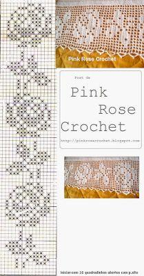 PINK ROSE CROCHET: Barrado Rosa Perfeita em Crochê Filê