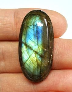 Natural Labradorite Gemstone Cabochon Oval  35.6 x 17.5 x 8.0 mm by AliveGems, $6.75