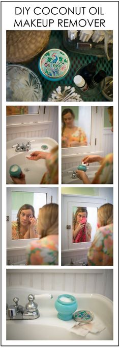 DIY coconut oil makeup remover This is what I use everyday to take my makeup off. Plus its great for travel too!