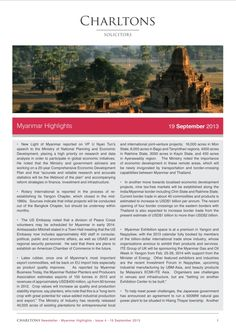 Charltons Myanmar Highlights - Issue 4 (1 of 3) - New Light of Myanmar reported on VP U Nyan Tun's speech to the Ministry of National Planning and Economic Development, placing a high priority on research and data analysis in order to participate in global economic initiatives...