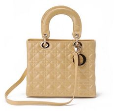 The medium Lady Dior bag in beige patent leather with gold hardware