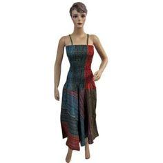 "Womens Cotton Tie Dye Stripes Printed Chic Long Spaghetti Smocked Dress 48"" (Apparel)"