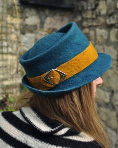 Felted wool hat 'Feather' - Handmade felt trilby men women - pure hand dyed merino - Teal blue gold - vintage buckle - MADE to ORDER