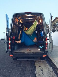 Mercedes Benz van, beach bum with some hammocks. Perfect type of adventure van. #adventure #vans #Mercedes #hammocks #ENO #SanClemente #BeachLife #fun