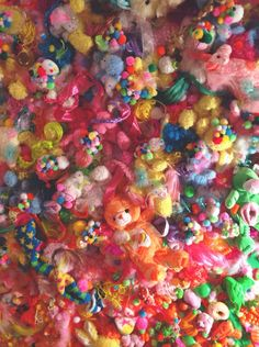 """A snapshot from Sebastian Masuda's installation """"Colorful Rebellion"""" (those are nostalgic toys glued to the wall)"""