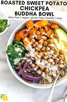 This sweet potato chickpea buddha bowl is an easy and delicious way to pack a lot of nutrition and flavor into one bowl. Its gluten free vegan perfect for meal prep and can be customized to your own needs and preferences. Chickpea Recipes, Vegetarian Recipes, Healthy Recipes, Buddha Bowl Vegan, Lemon Tahini Dressing, Crispy Chickpeas, Roasted Sweet Potatoes, Protein, Meals