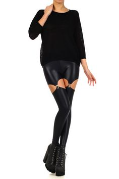 Black Wet Dream Suspender Leggings - POPRAGEOUS - 1