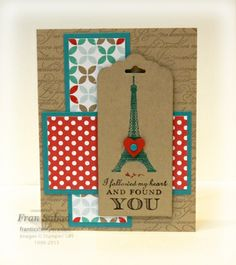Stamp Sets - Follow My Heart, En Francais, Teeny Tiny Wishes card stock - Crumb Cake, Bermuda Bay, Polka Dot DSP, Fresh Prints Designer Series Paper Stack Ink - Crumb Cake, Early Espresso, Bermuda Bay, Real Red Etc - Scalloped Tag Topper Punch, Small heart punch, Brights Candy Dots