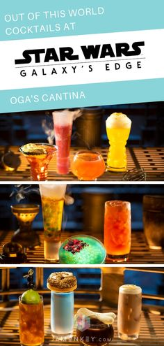 Out of this World Cocktails at Oga's Cantina inside Star Wars: Galaxy's Edge Disney World Tips And Tricks, Disney Tips, Disney Magic, Disney Parks, Disney Memes, Disney Stuff, Walt Disney, Disney Vacation Planning, Disney World Planning