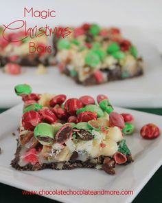 Magic Christmas Bars-Magic bars also known as Seven Layer bars all dressed up for the Holidays (or change out the color of M&Ms to suit any occasion, birthdays, showers, back to school!)