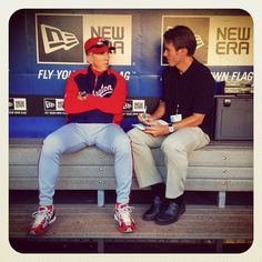 #Nationals manager Davey Johnson is interviewed in the #dugout by SI writer Tom Verducci before tonight's game against the #Mets in #NewYork. (By @bmangin / SI) #MLB
