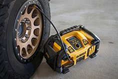 DEWALT Car Jump Starter and Portable Power Station with Air Compressor Kit: 1000 Watt Power Inverter, Jumper and 120 PSI Compressor, 2800 Instant Amps Dewalt Power Tools, Cordless Power Tools, Portable Air Pump, Portable Battery, Milwaukee, Tool Store, Best Tyres, Professional Tools, Home Tools