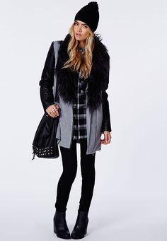 Missguided - Orla Faux Fur Leather Biker Sleeve Coat Grey