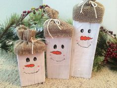 ♥ Snowmen blocks are made from pine wood (2X4), craft paint, all hand painted, they have a wide enough base you can sit them up straight, their
