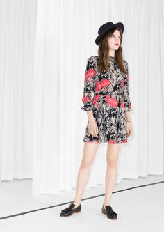 & Other Stories Scarlet Ibis Print Dress | wear it solo in the summer or with tights in the fall