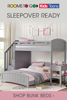 Rooms To Go Kids has a huge collection of Bunk Beds for your kids' space. From girls, to boys, to teens, everyone can be sleepover ready when you shop today.